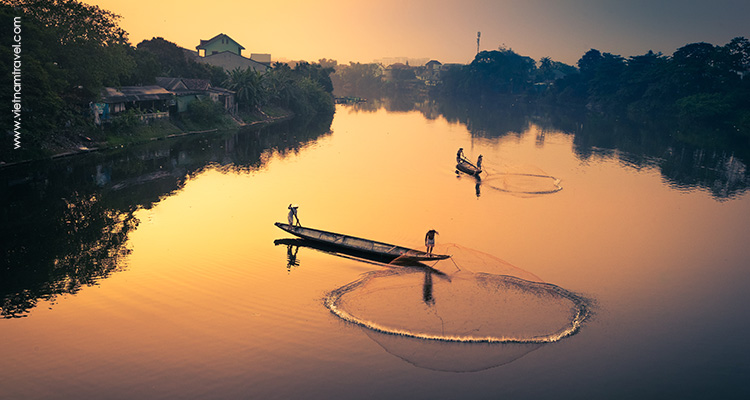 peaceful river in Hue, Vietnam
