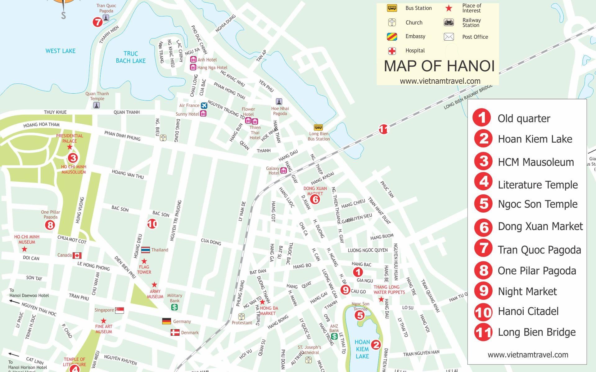 Hanoi Travel Map VietnamTravel