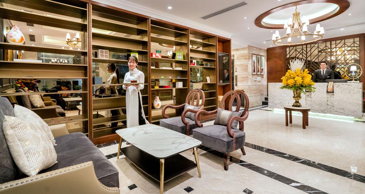 reception area in Conifer Grand Hanoi Hotel