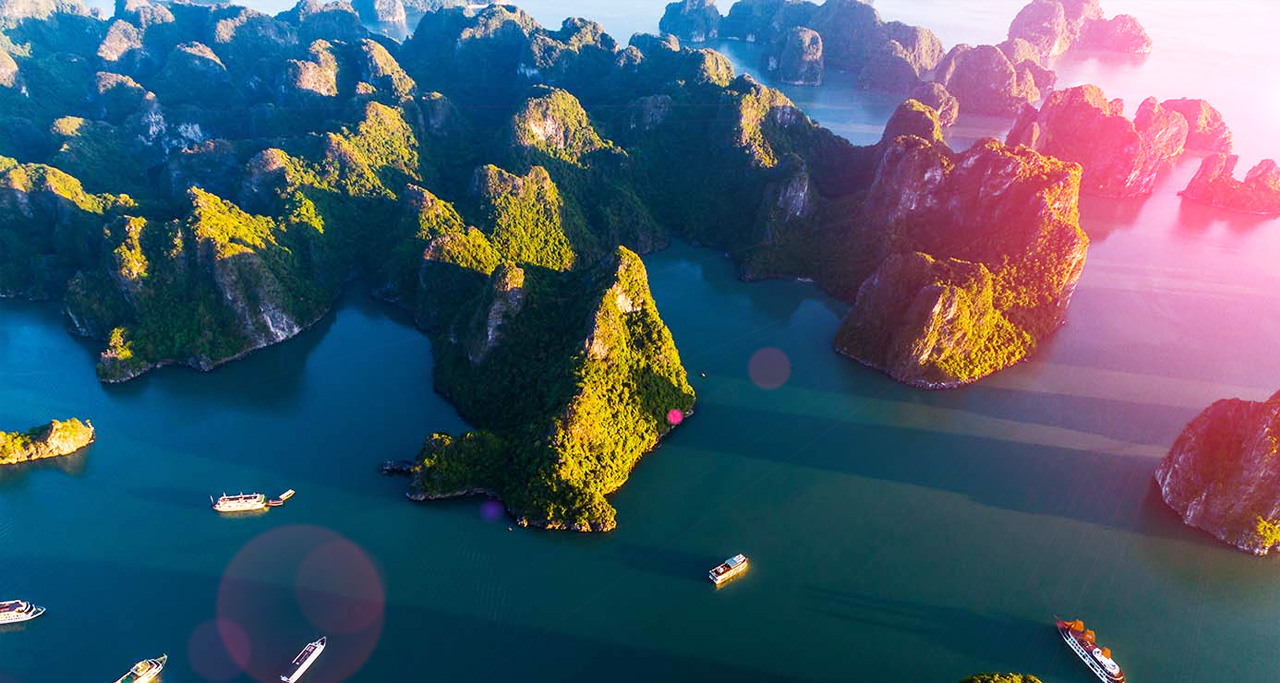 Picturesque Halong Bay, one of Vietnam's most beautiful spots