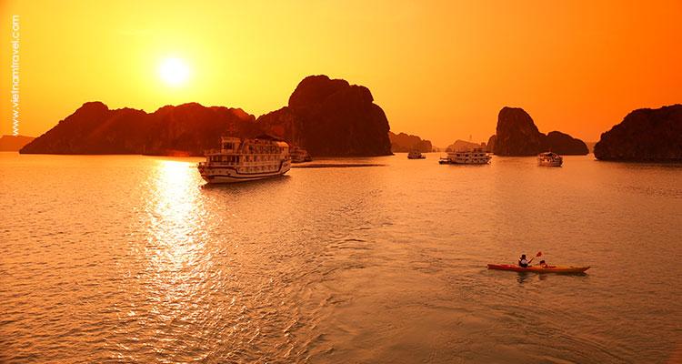 Kayaking under the sunset