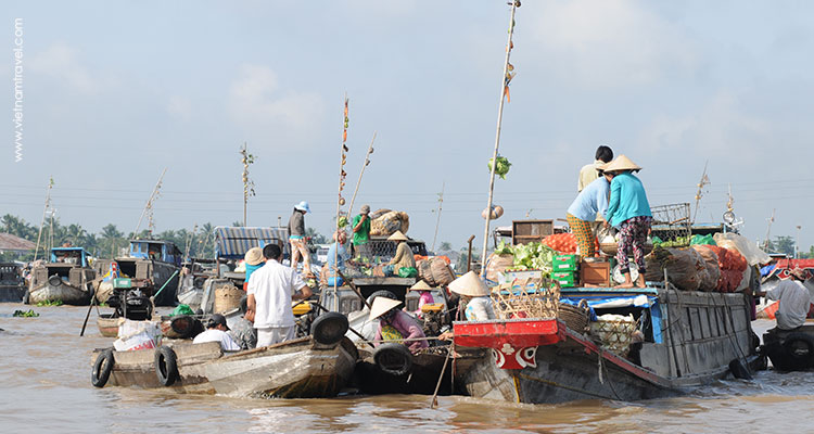 Floating market on Mekong River
